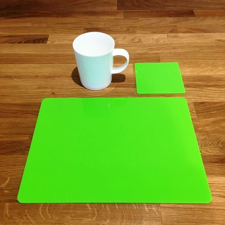 Rectangle Shaped Lime Grün Acrylic Placemats & Coasters - 11.5x8.5  or 16x12