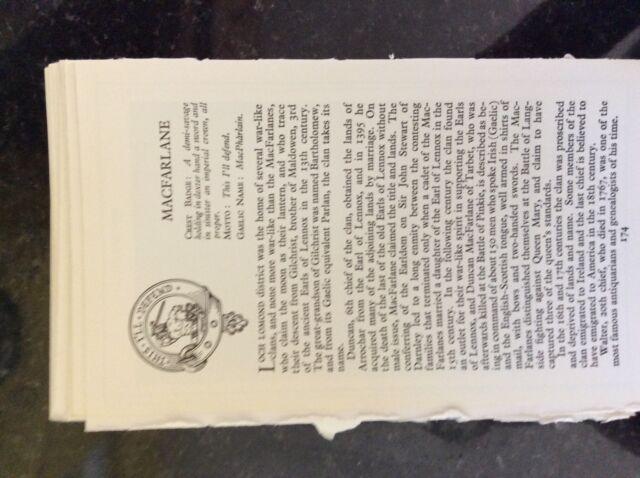 B1o  ephemera 2 pages clan tartans description tartan macfarlane