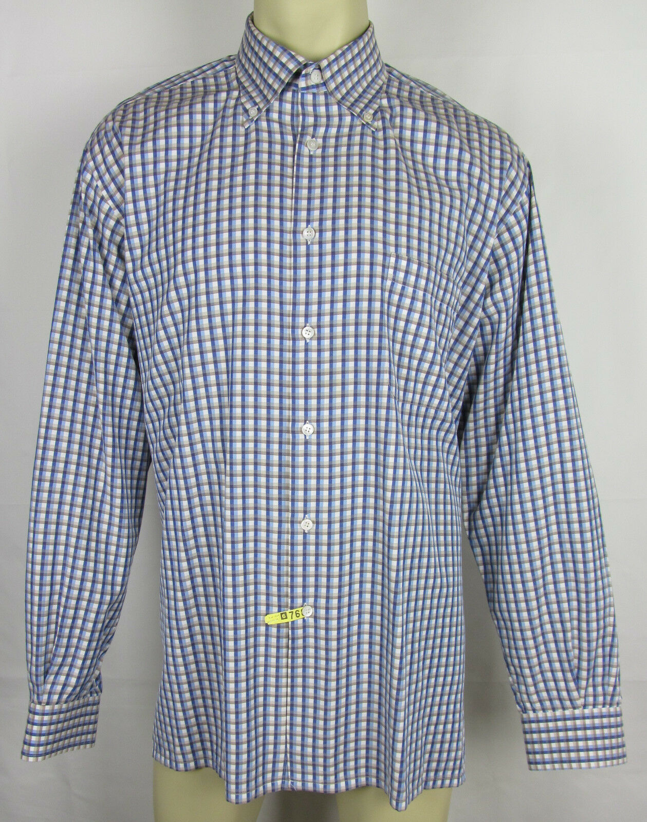 Cifonelli dress hemd long sleeve button front  Checkerot herren Größe XXL 2XL