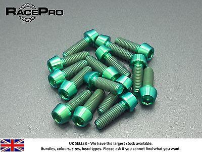 6x Titane Conique Boulon GR5-M6 x 25 mm x 1 mm Allen Head-Vert RacePro