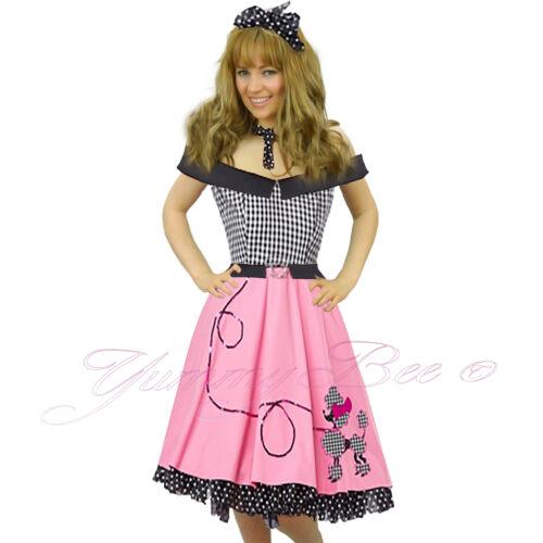 Fancy Dress Costume 50s Pink Rock Roll Vintage Womens Retro Adult N