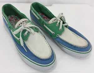 Sperry Top Sider Womens 7 5m Blue Green Canvas Boat Deck