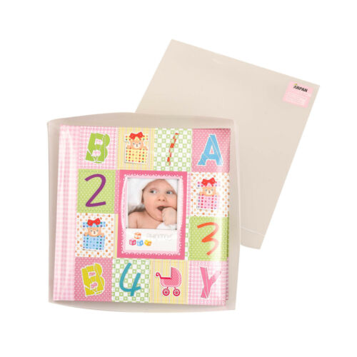 """Pink Baby Alphabet//Number Photo Album Holds 200 Photos 4/'/' x 6/""""-Ideal Gift-CC200"""