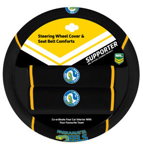 PARRAMATTA EELS Official NRL Steering Wheel Cover and Seat Belt Cover Set