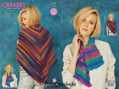 Stylecraft Double Knit Pattern 9187 Two Crochet Designs One Size Scarf /& Shawl