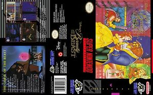 Beauty-and-the-beast-Replacement-SNES-Box-Art-Case-Insert-Cover-Only