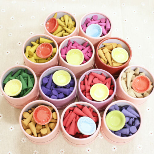 30pcs Colorful Smoke Tower Cones Bullet Cone Incense With Plate