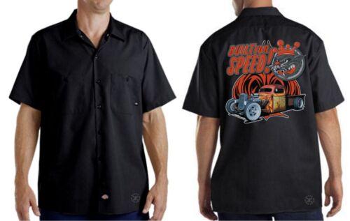 BUILT FOR SPEED Mechanics Dickies Work Shirt ~ Big Cat Hot Rat Rod Truck