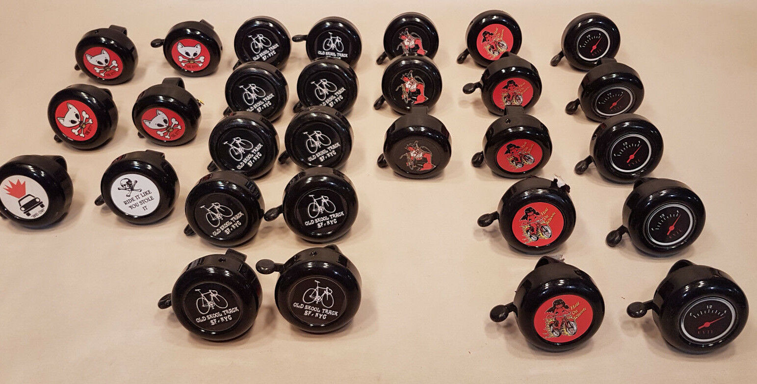 BICYCLE BELLS, HELL'S BELLS BRAND - SOLD AS A SINGLE  LOT  OF 29 - NOS