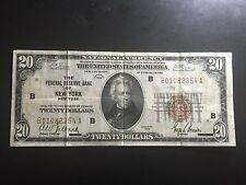 1929 $ 20.00 TWENTY DOLLAR BILL BANK NOTE  NEW YORK  B01082354A