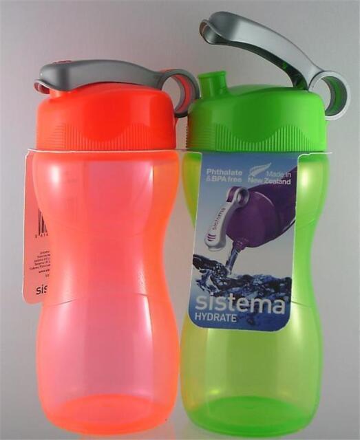 2 x 475ml SISTEMA Hydrate - HOURGLASS Drink Bottles BPA FREE RE-USEABLE G & R