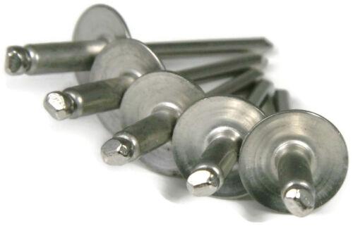 Aluminum POP Rivets Large Flange 6-8LF Qty-100 .376 - .500 3//16 x 1//2 Gap