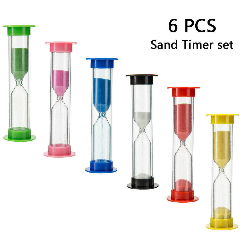 6Pcs Hourglass Kids Toothbrush Timer Smiley Sand Egg Timer T