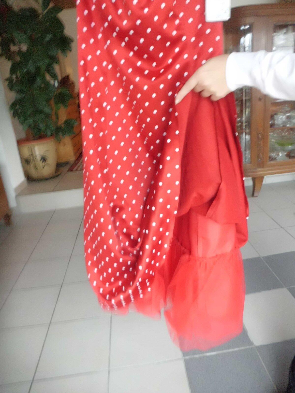 Kleid mit Pedicoat rot mit weißen weißen weißen Punkten Gr 38 NEU mit Etikett  266686
