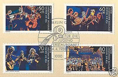 1a Zuversichtlich Berlin 1988: Jugend Musiziert 1802 807-810 Mit Ersttags-sonderstempel Nr