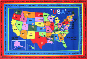 8x11 Area Rug Educational State Capitals Map United States America