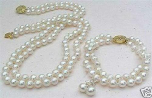 """2 Rows White 8mm Akoya Cultured Shell Pearl Necklace 19-20/"""" Bracelet 8/"""" Earring"""