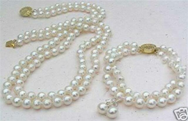 "2 Rows White 8mm Akoya Cultured Shell Pearl Necklace 19-20"" Bracelet 8"" Earring"