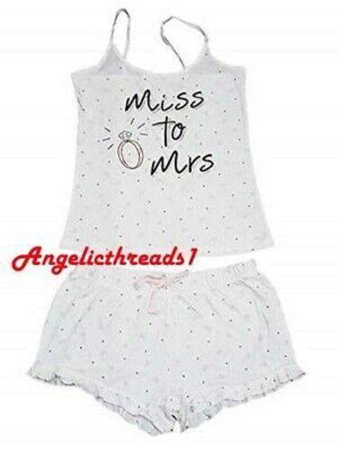 Primark Limited Edition Miss to MRS Cami Vest and Short Pajama Pyjamas PJ Set