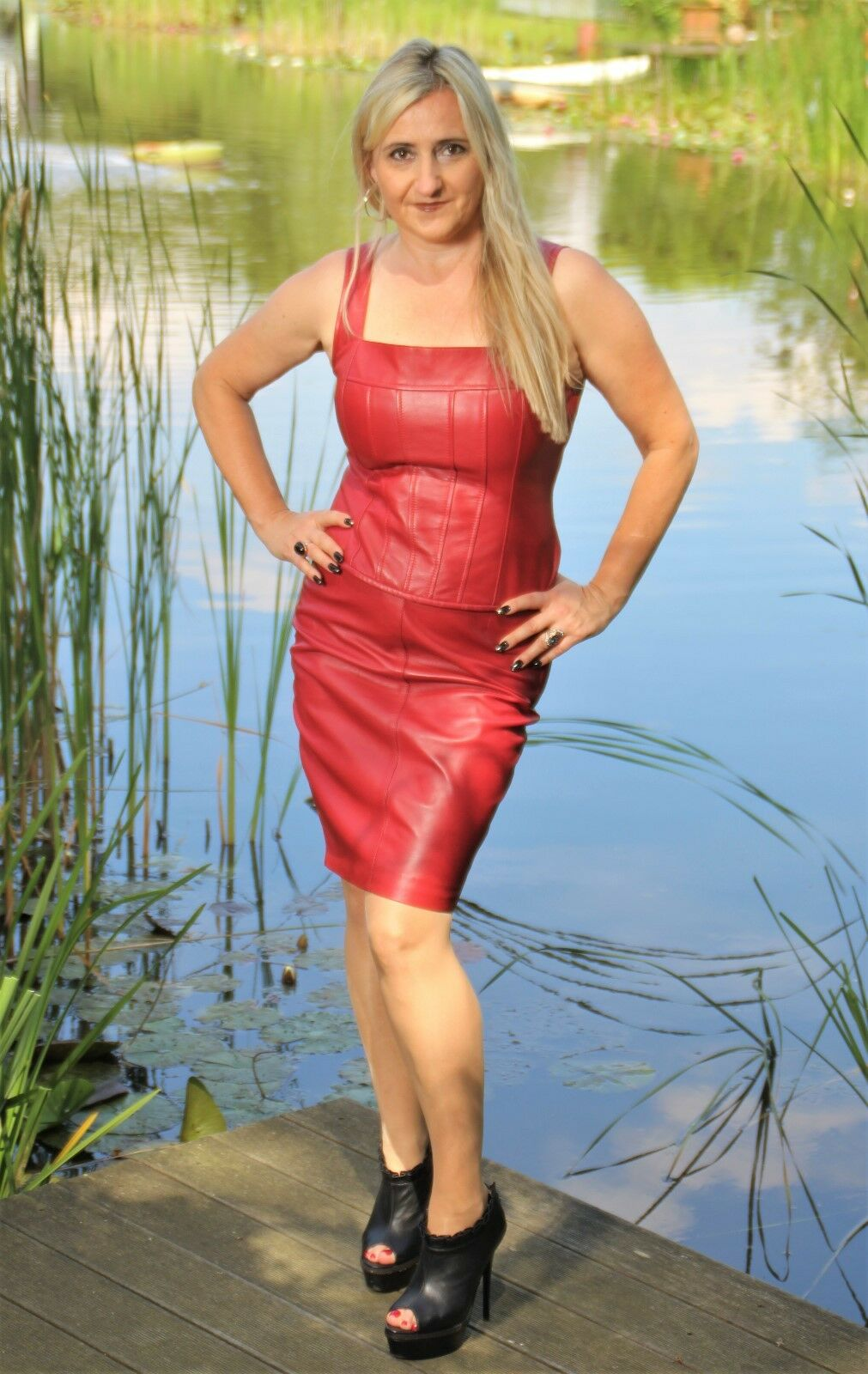 427a219001f7 Lederrock Bleistiftrock Soft ECHT-Leder in in in elegant rot für ...