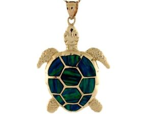 10k or 14k yellow gold gorgeous blue green simulated opal sea turtle image is loading 10k or 14k yellow gold gorgeous blue green aloadofball Image collections