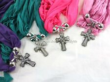 US SELLER-6pcs rhinestone cross scarf jewelry necklace  Fashion Shawl Bulk