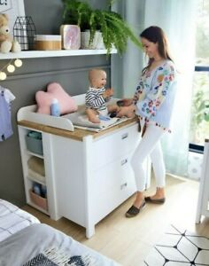 Details About Modern Nursery Chest Of Drawers Baby Changing Table Dresser Unit White Oak Dr