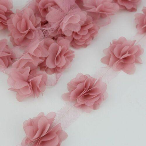 120 Pieces//lot Pink Petal Chiffon Lace Fabric Webbing Decoration Ribbons 50mm