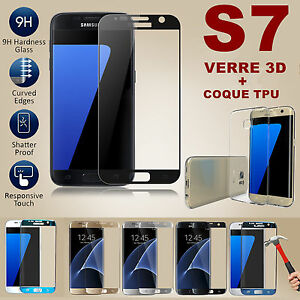 LOT-FILM-PROTECTION-VITRE-VERRE-TREMPE-TOTAL-3D-SAMSUNG-GALAXY-S7-COQUE-TPU