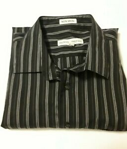 Pronto-Uomo-Men-039-s-Black-Striped-Long-Sleeve-Shirt-2XL-XXL-Non-Iron