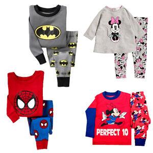 Cartoon-Bebe-Garcons-Filles-Cute-Spider-ma-Bat-man-Minnie-Pyjama-ensemble-1-7T