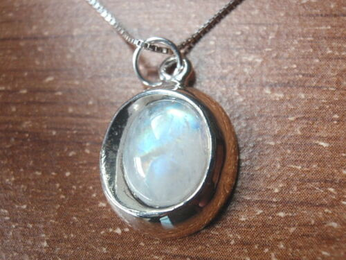 Genuine Moonstone Oval 925 Sterling Silver Necklace Corona Sun Jewelry