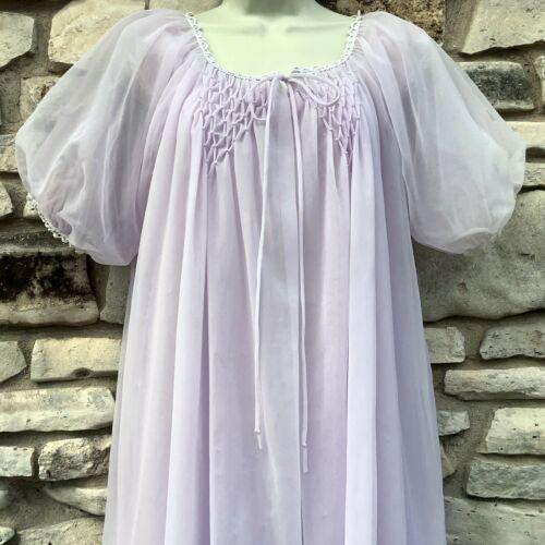 Peignoir Set Nightgown Robe Lavender Double Nylon