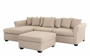 2 Pc Set Linen Fabric Sectional Sofa With Ottoman Set Large L Shape