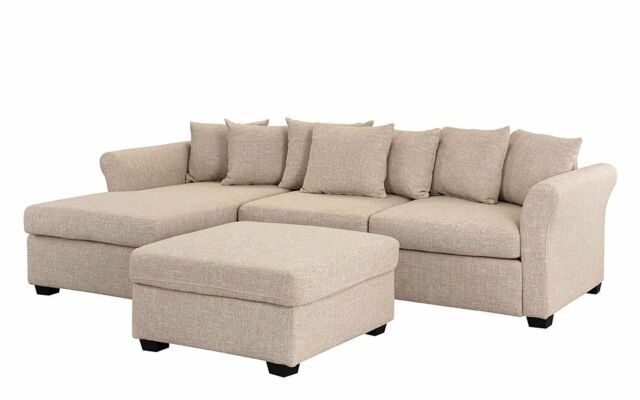 2 PC Set Linen Fabric Sectional Sofa with Ottoman Set Large L-Shape Couch,  Beige