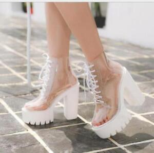 Womens Transparent Chunky High Heels