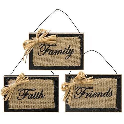 New Rustic Farmhouse FAITH FAMILY FRIENDS BURLAP BLACK WOOD SIGN Plaque Hanger
