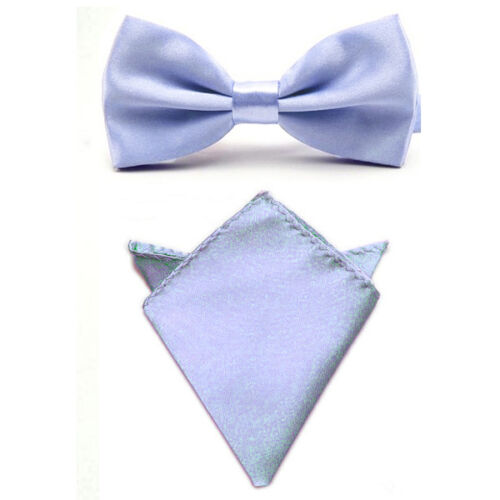 Men Smooth Solid Satin Bowtie Bow Tie Match Handkerchief Pocket Square Hanky Set