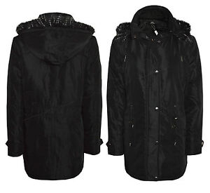 Ladies Girls New Black Parka Coat Fur Hood Quilted Jacket Warm ...