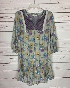 UMGEE-Boutique-Women-039-s-S-Small-Gray-Purple-Floral-Fall-Tunic-Top-Blouse-Shirt
