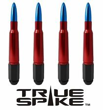 20 VMS RACING 7 INCH 12X1.5 LUG NUTS W/ RED BLUE 50 CAL BULLET SPIKES D