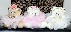 FANCY TEDDY BEARS PLUSH FUR SOFT KEY RING/BAG CAR CHARM LACE ROSE GIFT ITEMS UK