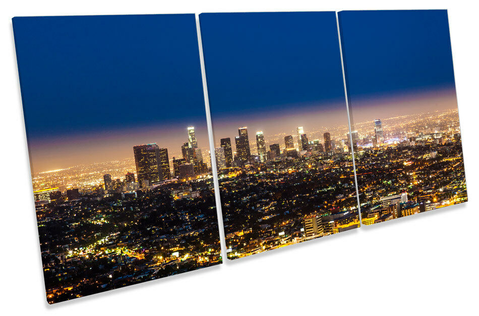 Los Angeles CITY SKYLINE NOTTE triplicare triplicare triplicare CANVAS WALL ART PICTURE PRINT acf4ec
