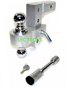 6-034-Aluminum-Adjustable-Drop-Hitch-2-034-Receiver-1-7-8-034-and-2-034-Balls-W-Hitch-Lock