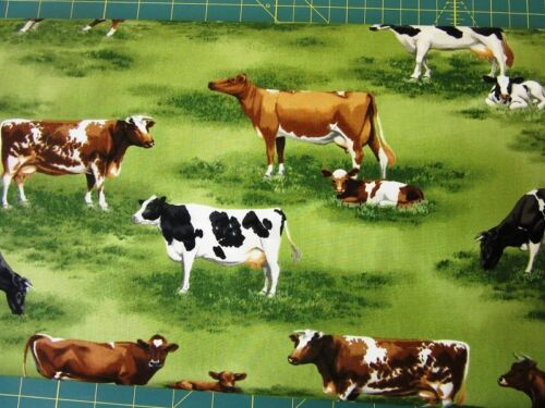 Cows in Field Down on the Farm Kaufman Quilt Fabric by the 1//2 yard