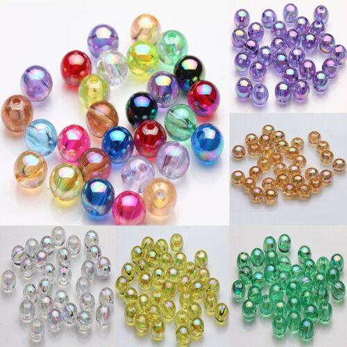 50//100Pcs Acrylic Round Plated AB Loose Spacer Beads Crafts Jewelry Findings DIY
