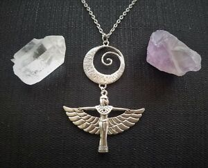 Egyptian Goddess Isis Aset Pendant Necklace Moon, Silverplated, African, Magic