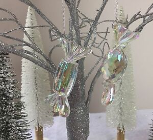 image is loading 2 clear iridescent acrylic sweet decorations christmas tree