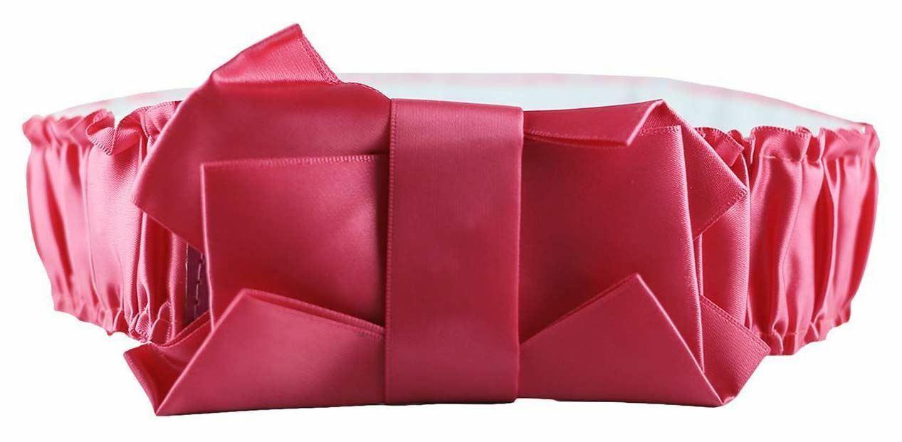 ! nuevo! Vogue Cerise arco Arruga Acanalada elastciated amplia franja cinturones de un tamaño