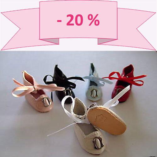 -20% PROMO Lot de 3 paires de CHAUSSURES en CUIR pour POUPEES BLEUETTE (4 cm)